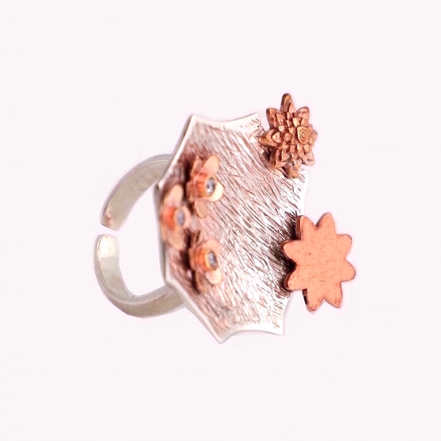 Cocktail Ring Sterling Silver with Copper Embellishments