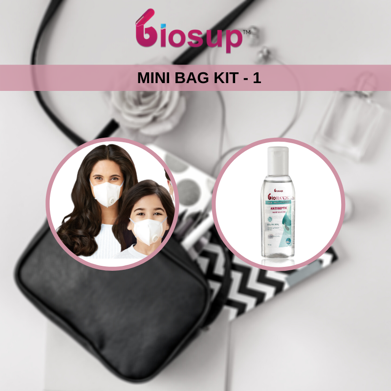 Biosup Mini Bag Essential Kit -1 with KN95 Masks 1 Unit and Sanitizer 50 ml 1 bottle
