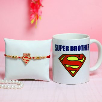 Super Brother/Bhai Designer Rakhi With printed white ceramic mug Combo