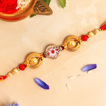 Round Charming Pearl Silver Rakhi Online