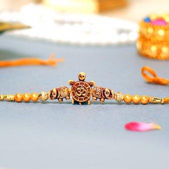 Om Turtle Beads Krishna & Shubh Divine Rakhi