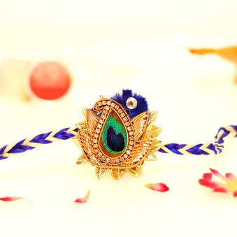 Peacock Feather Zardosi Rakhi Online