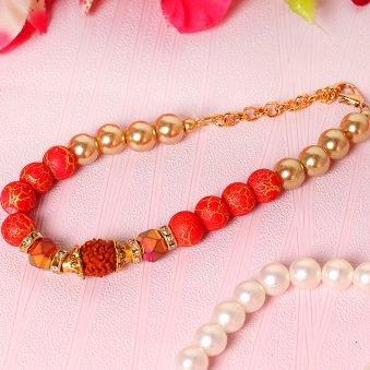 Ravishing Red Rudraksha Rakhi Online