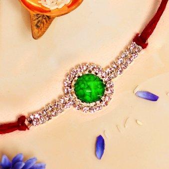 Gripping Green Designer Stone Rakhi Online