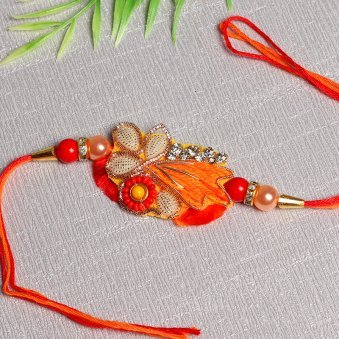 Fiery Orange Zardosi Silk Thread Rakhi Online