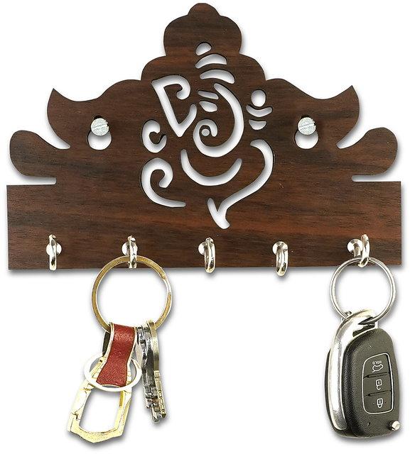 Lord Ganesha Design 5 Hooks Wooden Key Holder