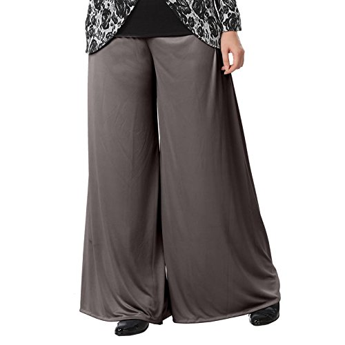 Full length palazzo with one side pocket formal grey-xl