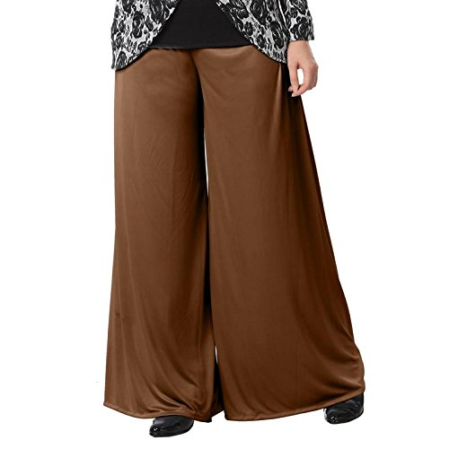 Full length palazzo with one side pocket dark wheat-xl