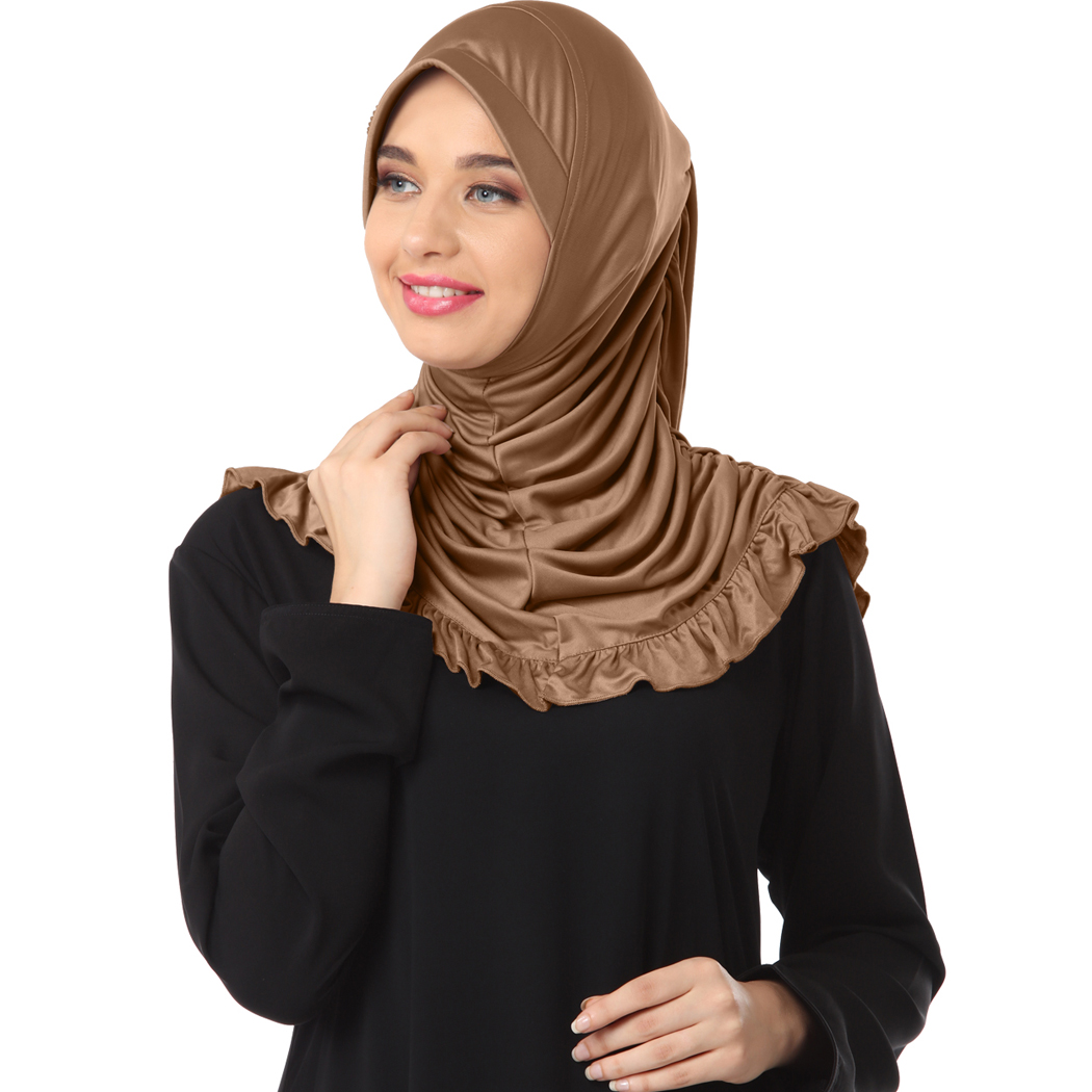 Instant modest hijab designed with frills and rhine stone on cap Zareen Dark wheat- XL