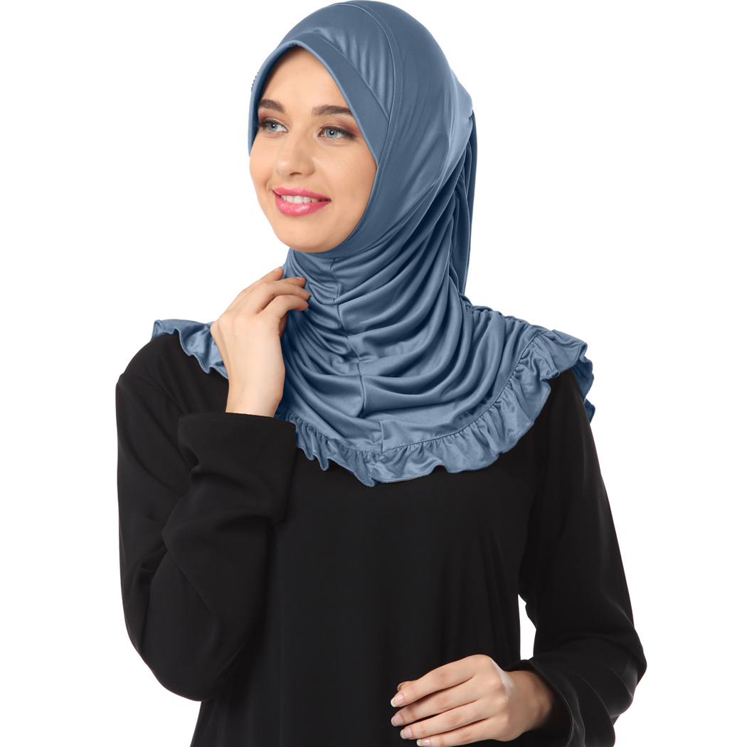 Instant modest hijab designed with frills and rhine stone on cap Zareen Grey- XL