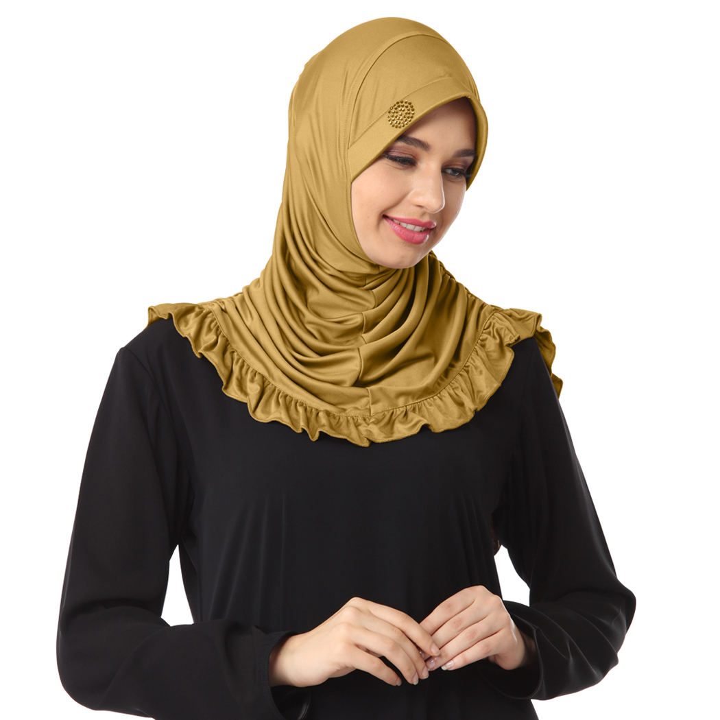 Instant modest hijab designed with frills and rhine stone on cap Zareen gold - XL