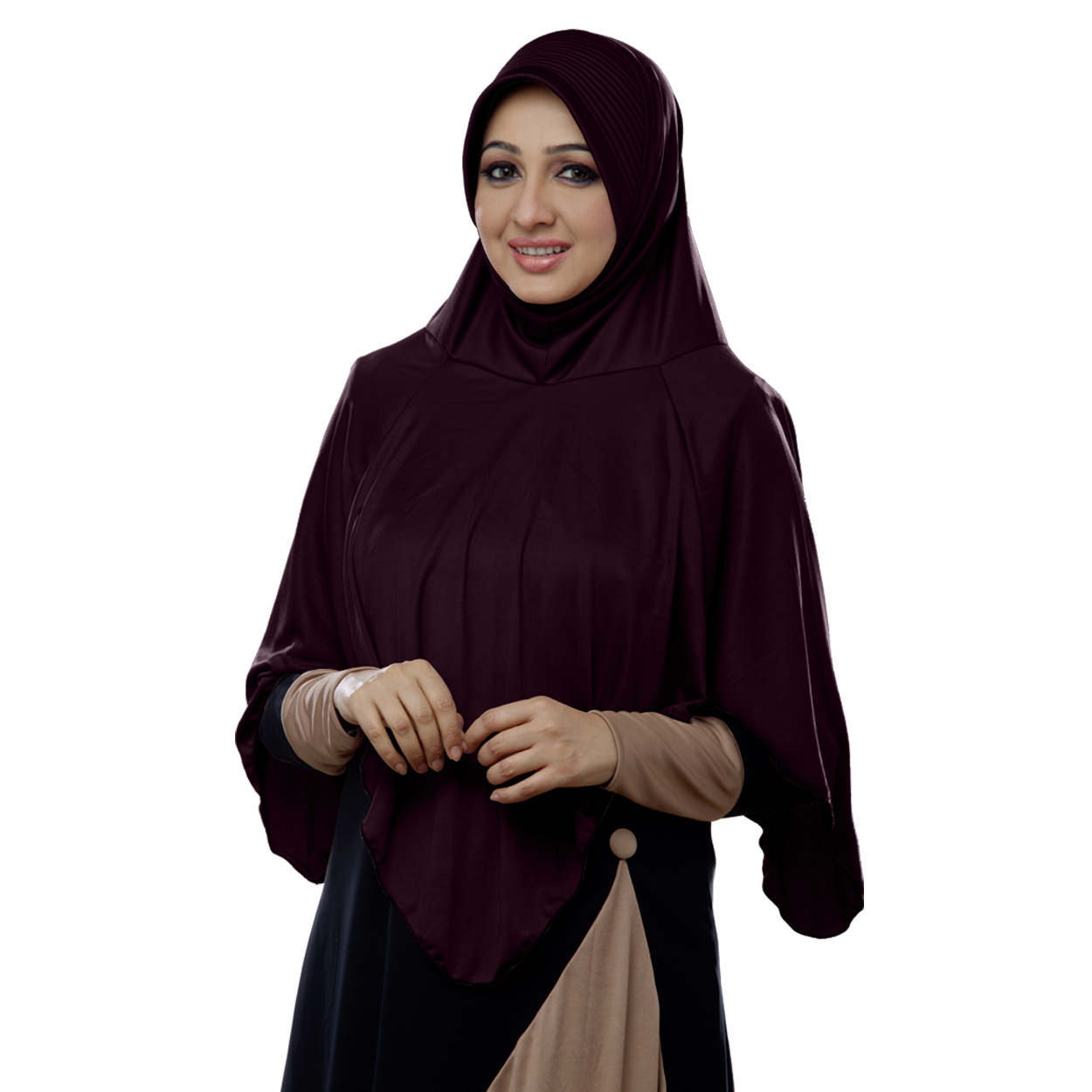 Ready to wear long covering modest hijab Nabah wildberry-XL