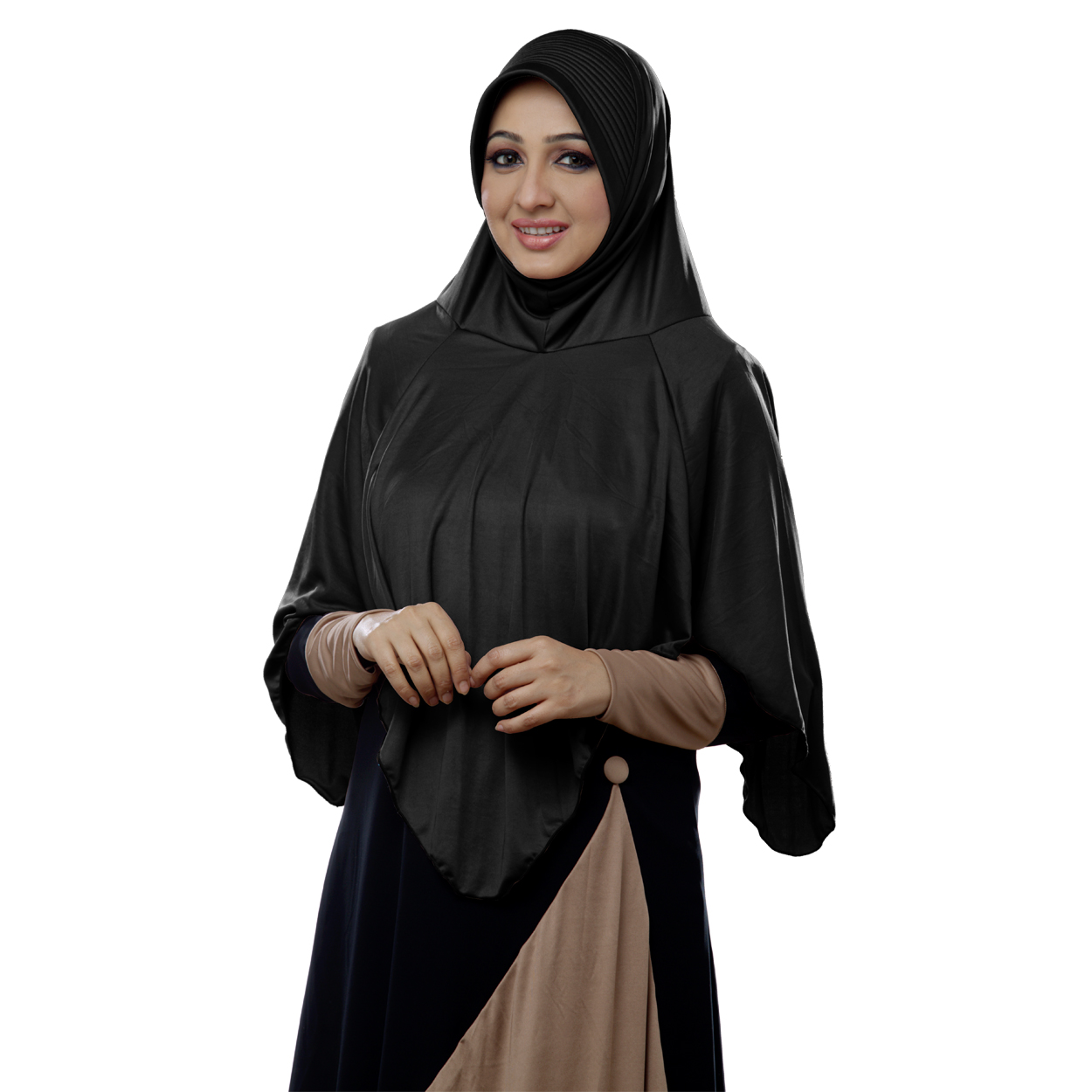 Ready to wear long covering modest hijab Nabah black-xl