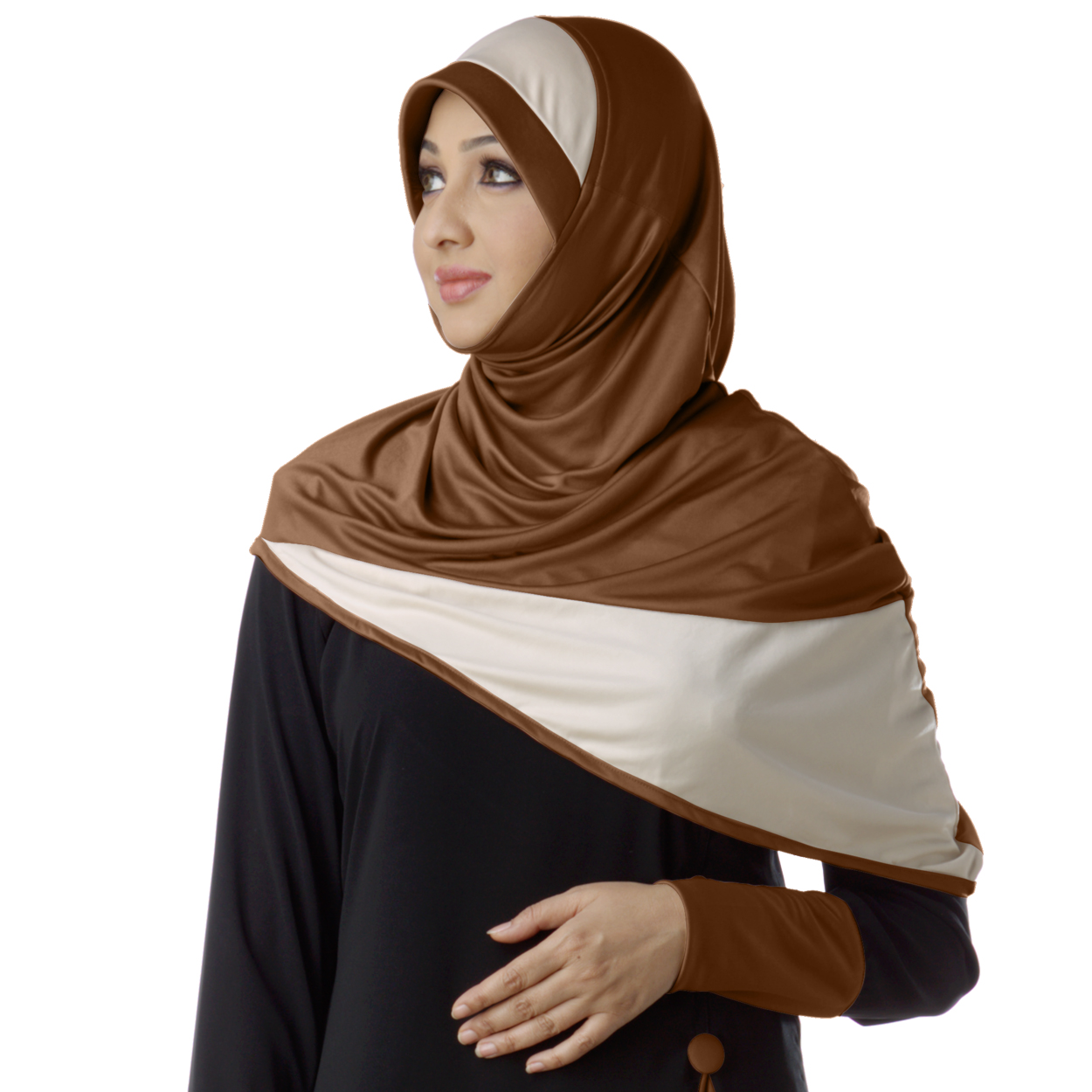 Ready to wear modest hijab in dual color Fida Dark wheat -XL
