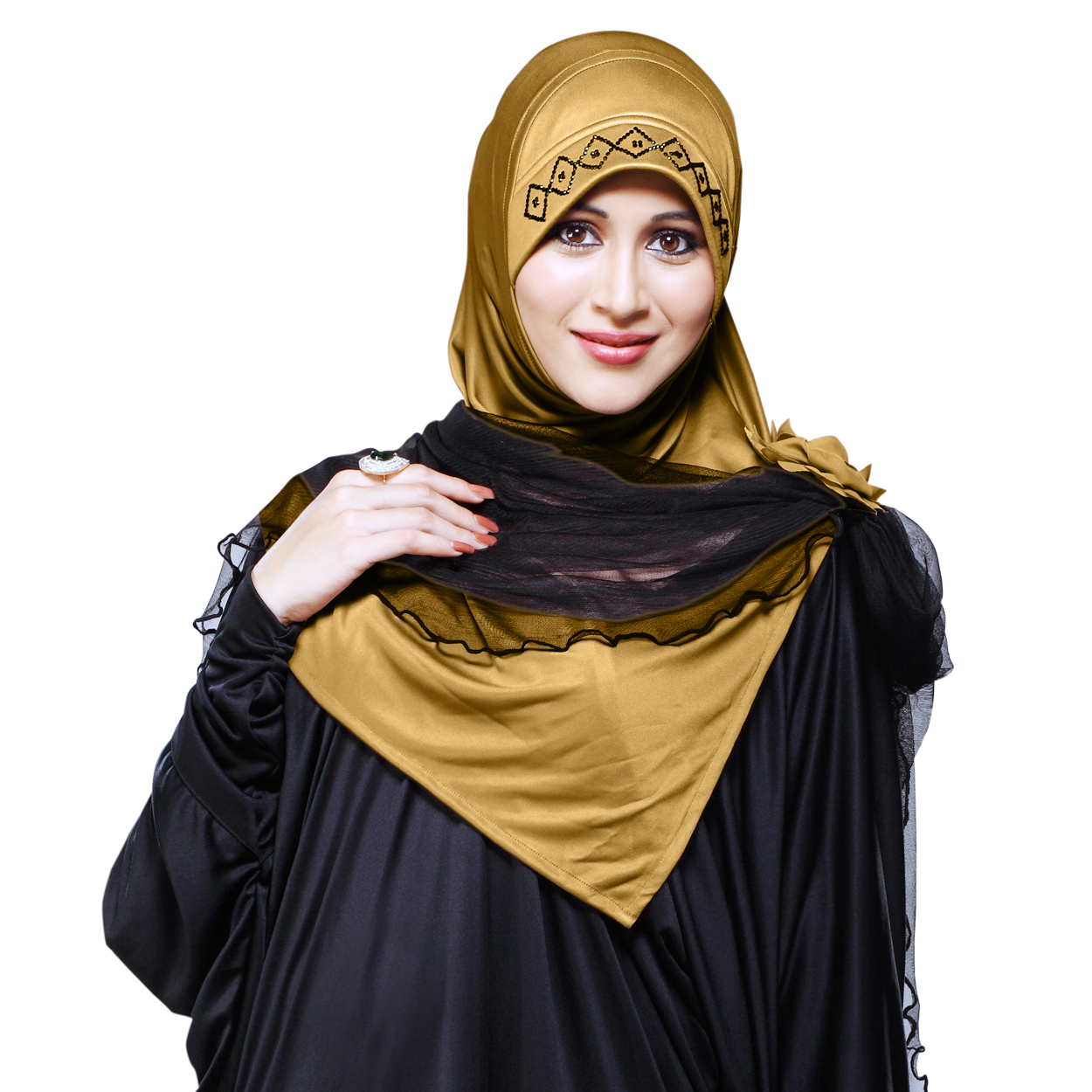 Ready to wear Instant hijab designed with rhine stone on cap additional black net included Zenora-gold-xl
