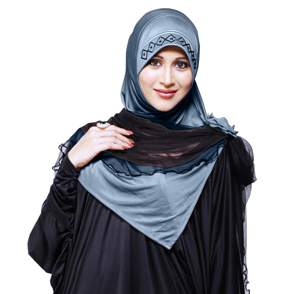 Ready to wear Instant hijab designed with rhine stone on cap additional black net included Zenora-grey-xl