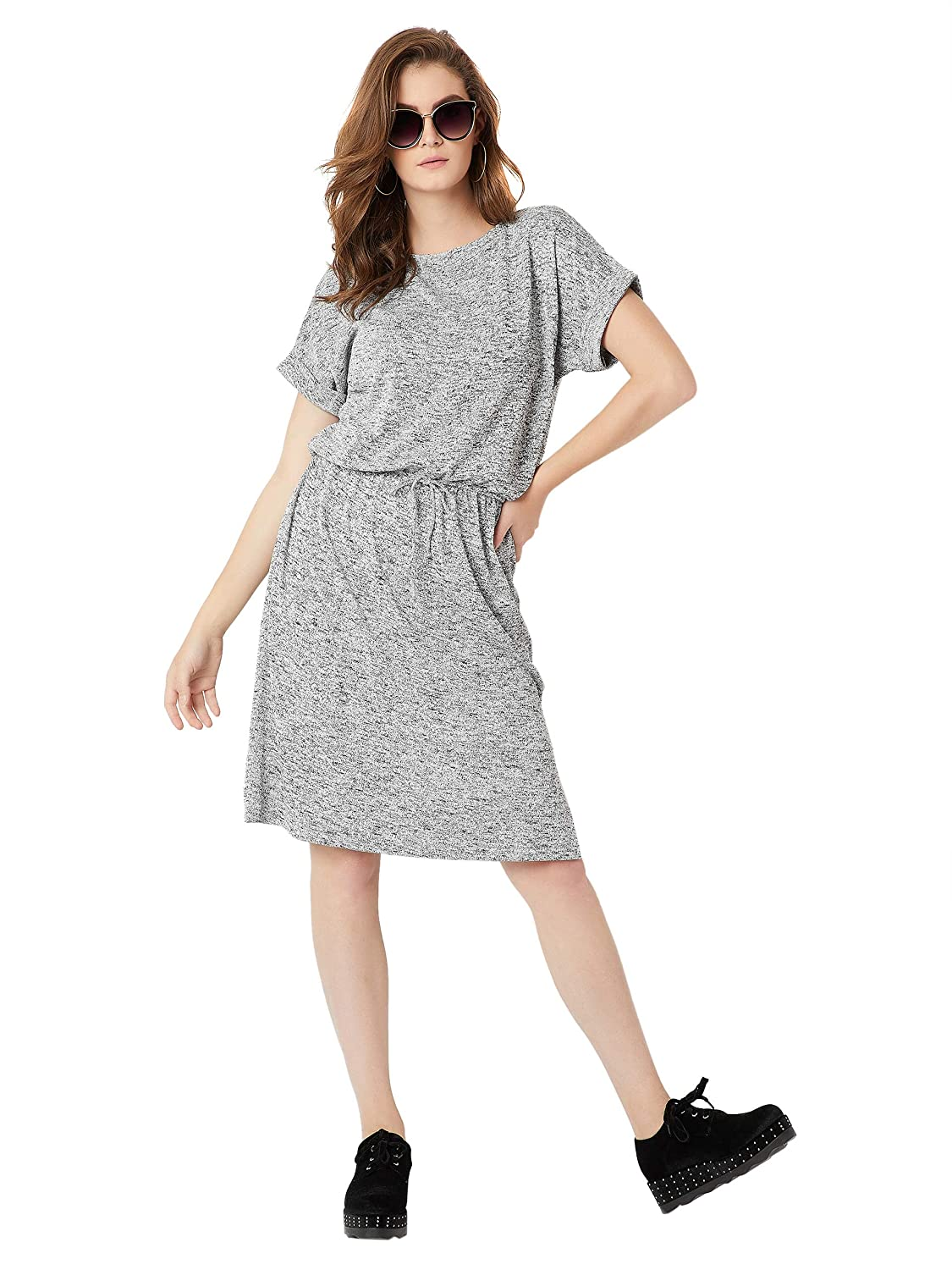 Miss Chase Women's Grey Cotton Shift Dress Western Wear Jumpsuit